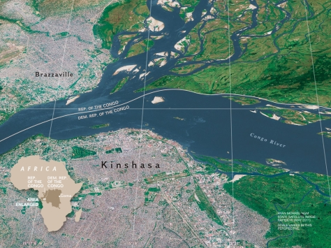 A shot from the article showing the sprawl of Kinshasa and Brazzaville.
